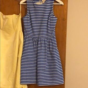 Blue and white striped dress j crew xxs